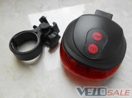Фонарь задній 5 LED - 2 Laser на велосипед + подар